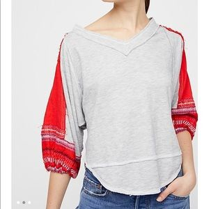 Free People Grey Red Embroidered Bubble Sleeve top